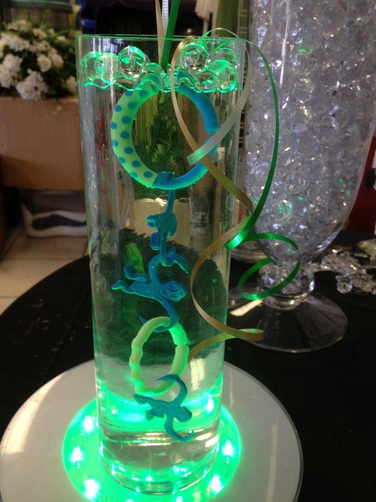 Mason Jar Baby Shower Green Centerpieces Using Glass Vases Ideas