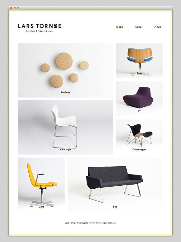 Lars Tornøe Contemporary Furniture Website with Grid Layout
