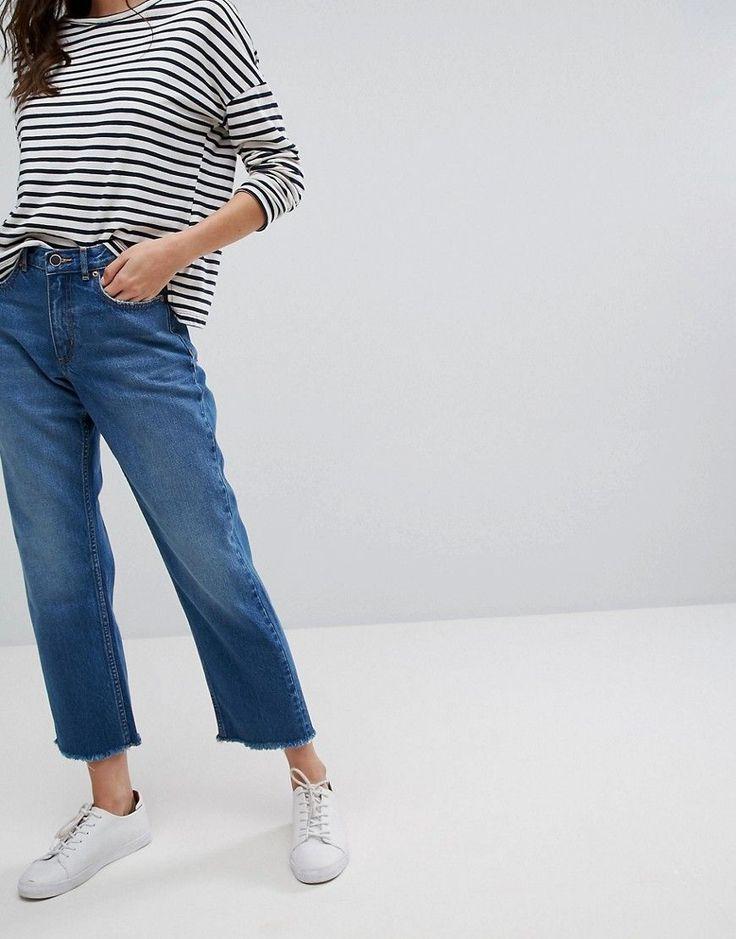 Only High Waist Straight Leg Jeans with Frayed Hem - Blue
