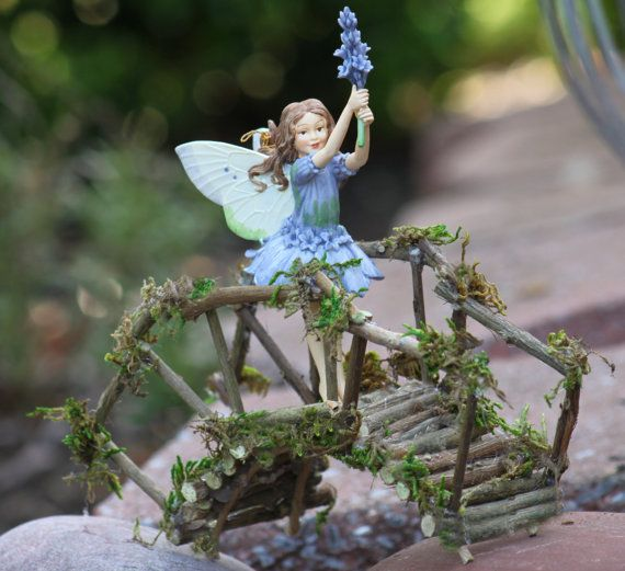 Fairy Rickety Bridge Handcrafted by Olive with Lavender Fairy, Heirloom Fairy by Cicely Mary Barker Included