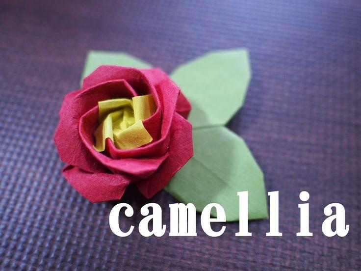 【折り紙】椿(つばき)の折り方(How to make a camellia)