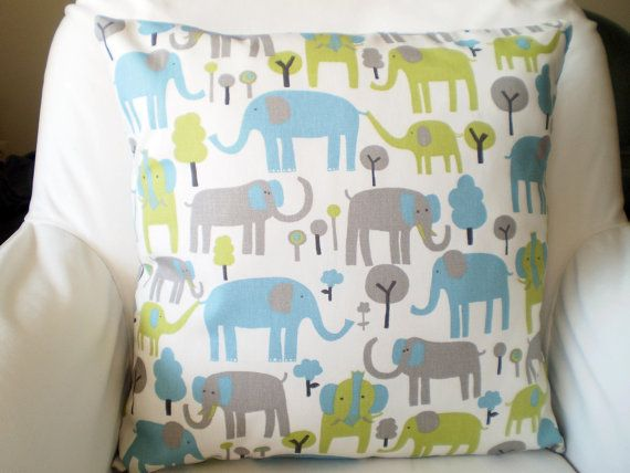 Blue Green Gray Elephant Pillow Covers by PillowCushionCovers