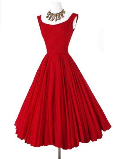 Red Round Neck Sleeveless Women's Vintage Dress