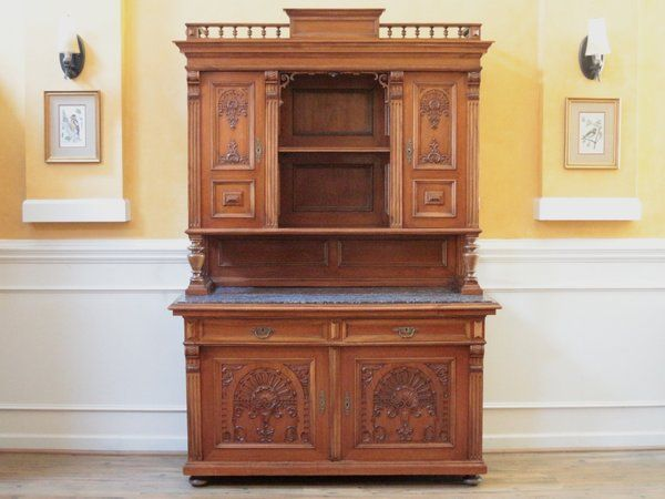 Antique Walnut German Marble Top Court Cupboard Server Buffet Hutch Bar C