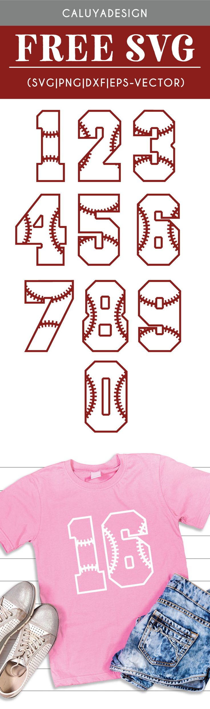 DIY Craft: FREE Baseball Numbers SVG cut file, Printable vector clip art download. Free printable clip art. Compatible with Cameo Silhouette, Cricut explore and other major cutting machines. 100% for personal use, only  for commercial use. Perfect for DIY craft project with Cricut & Cameo Silhouette, card making, scrapbooking, making planner stickers, making vinyl decals, t-shirts making , fashion, apparel, HTV, and more! sport number SVG cut file, baseball SVG cut file