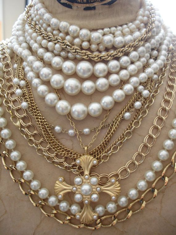 Large Gold and Pearl Necklace Layered Religious by jeweledfaith, $45.00