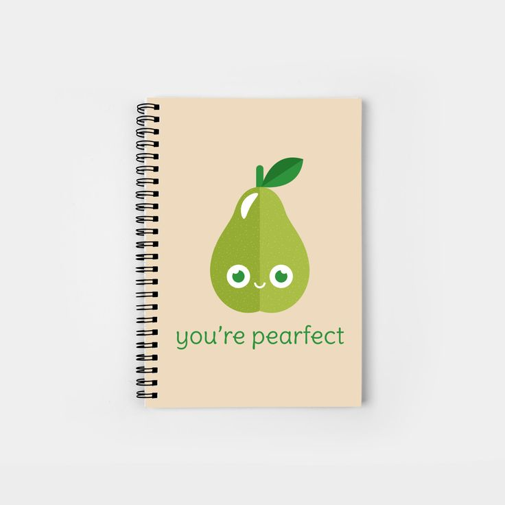 You';re Pearfect spiral notebook by Slugbunny - pun, puns, pear, pears, pair, perfect, fruit, food, funny, cute, love, relationship, tasteful, tasty, relationships, valentine, valentines, vector, art, illustration, drawing, design