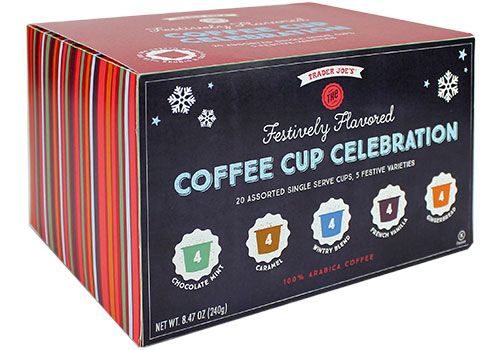 Trader Joe's Festively Flavored Coffee Cup Celebration $9.99   #traderjoes   #SingleServe #Coffee #kCups