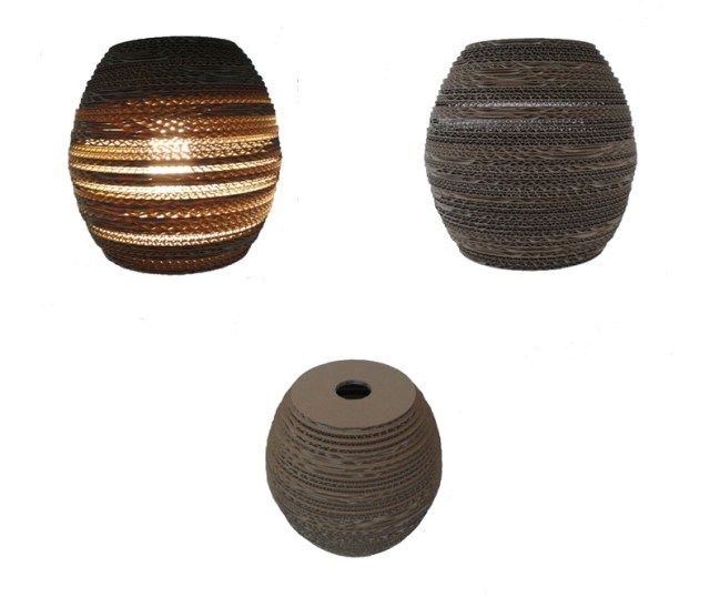 OWAL 24 - lampa z kartonu - Nazwa: Owal 24 / Średnica: 24 cm / Wysokość: 24 cm / Dolny otwór: 15 cm / Żarówka:max 60W Cardboard lamp; #light #interior #home #design #homedesign #cardboard