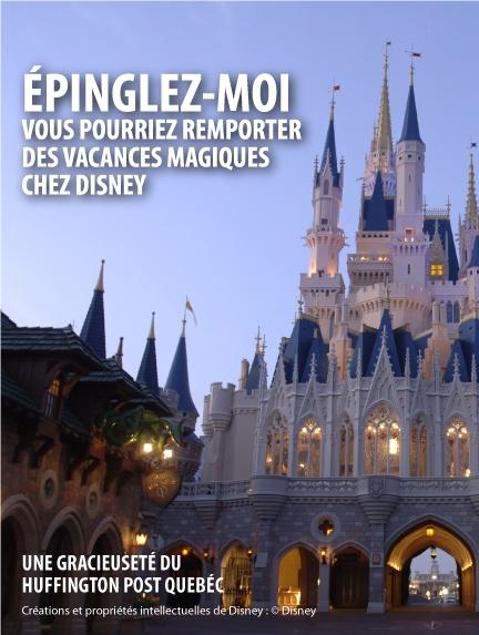 Je viens de participer au concours Vacances magiques d' Le Huffington Post Québec, et vous pouvez en faire autant! Épinglez-moi et passez le mot : il est possible de gagner l'un des 10 prix instantanés quotidiens, ainsi qu'un séjour de rêve dans l'un des parcs d'attractions de Disney.