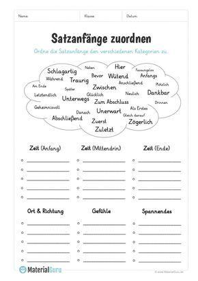 Auf diesem kostenlosen Arbeitsblatt sollen die Schüler verschiedene Satzanfäng…