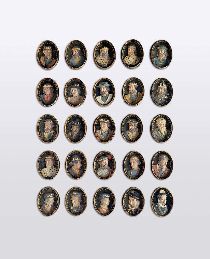 51 Wachsmedaillons mit den Bildnissen der französischen Könige von Pharamund bis Heinrich III.