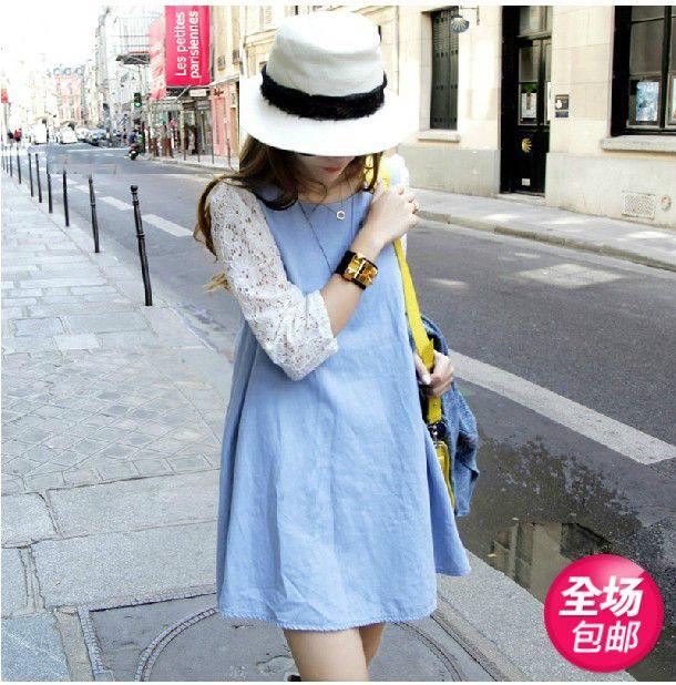 Корейская версия новой 2014 Весна моде джинсовые платья материнства беременных женщин одеваться рукав рубашки весна - Taobao
