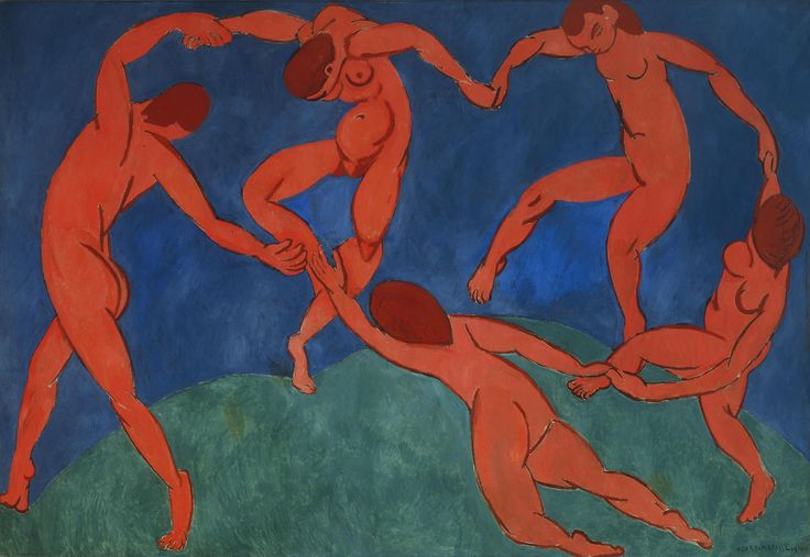 """Dance,"" 1909-1910, Henri Matisse. Oil on canvas; 260 x 391 cm. The Hermitage Museum, St. Petersburg."