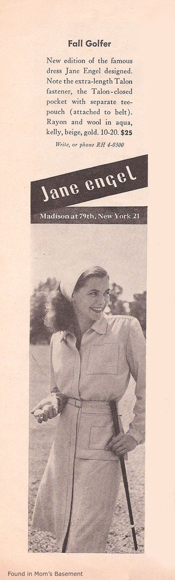 1946 ad for women's golf wear - Found in Mom's Basement