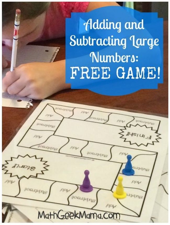 Free Add Subtract Large Numbers Game Board - Teach Junkie - Use maths games to work on adding and subtracting large numbers. Here is a free printable download of a math game board to practice how to add and subtract large numbers.