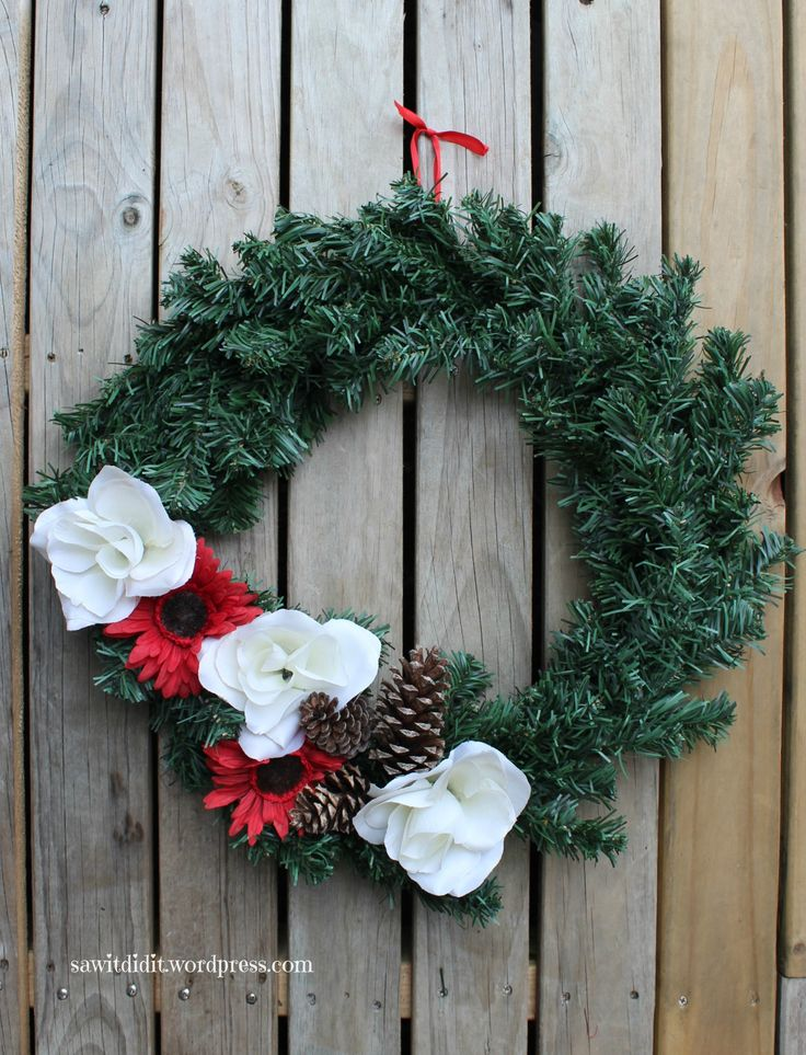 I wanted a winter door wreath, and made this one using things we already had around the house.