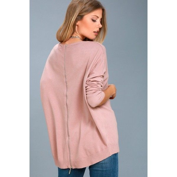 Laid Back Mauve Pink Sweater Top ($42) ❤ liked on Polyvore featuring tops, sweaters, pink, slouchy sweaters, roll-neck sweaters, zip sweater, travel sweater and oversized slouchy sweater