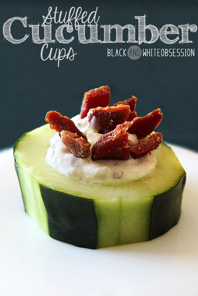 Looks Delicious! | Super Bowl Sunday Party Appetizer Stuffed Cucumber Cups | www.blackandwhiteobsession.com