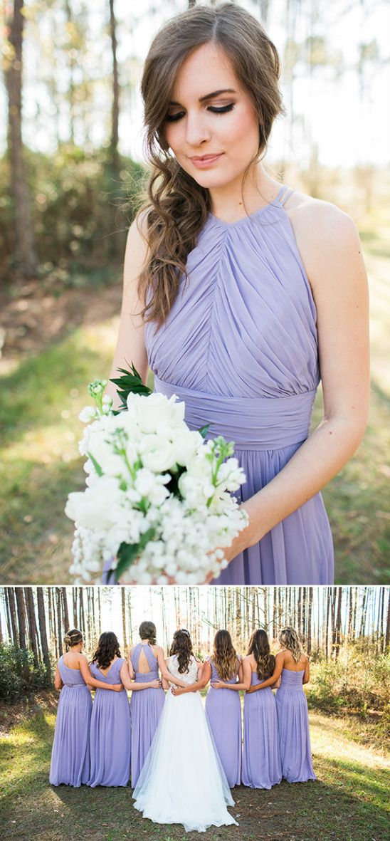 periwinkle bridesmaids dresses with white bouquets