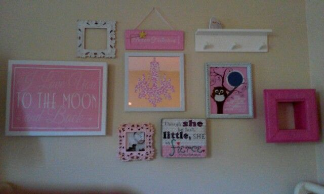 Although not finished, my daughter's collage above her crib. Cheap and easy