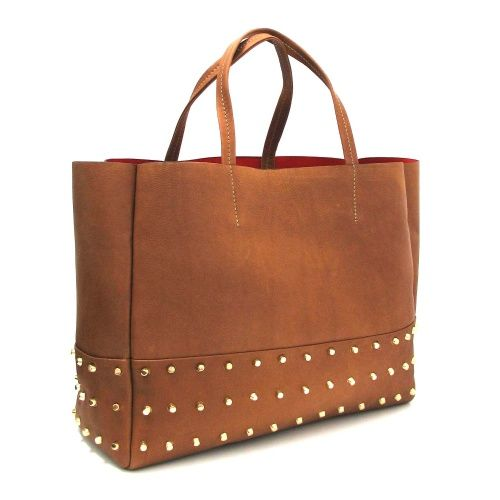 Marta Jonsson Tan Leather Tote Style Handbag with Gold Stud Detail.