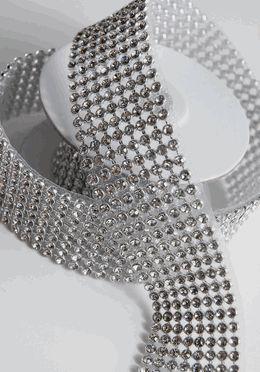 "Diamond Ribbon Trim with Stones 1-3/8"" Width Silver Setting 41"" Long (Save 39%)"