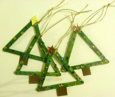 Popsicle stick Christmas trees.  Paint some popsicle sticks green and glue three together in a triangle.  Add a small brown rectangle for the tree trunk and glue on small jewels or beads for the ornaments and a star on top.
