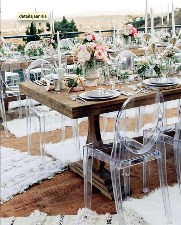 Ghost chairs let the beauty of natural rustic wooden tables shine ~ Details Details Wedding and Event Planning