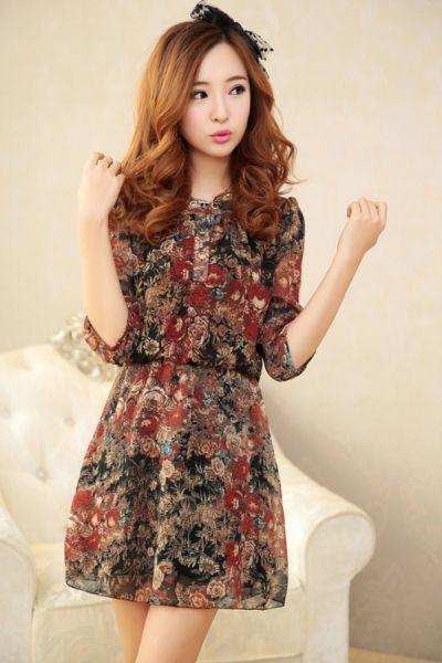 Half Sleeve Floral Chiffon Dress