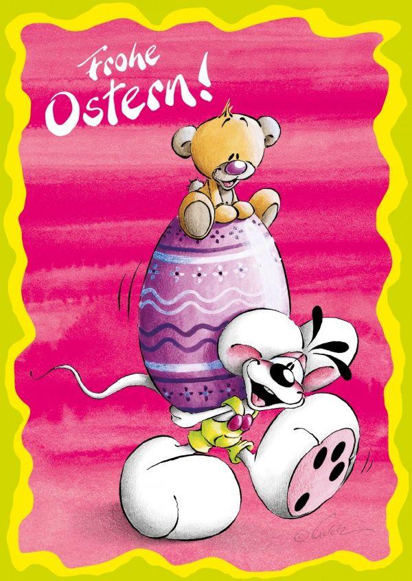 Diddl trägt ein Osterei
