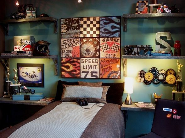 'Speed Demon' Collection – Photo 1 – The thrill of speed and the rush of competition are explored in this teen bedroom. The theme reflects a love of dirt bikes, cars and vintage memorabilia. Since this boy's bedroom is small, a feature wall was created to make a bold statement while taking up little space.
