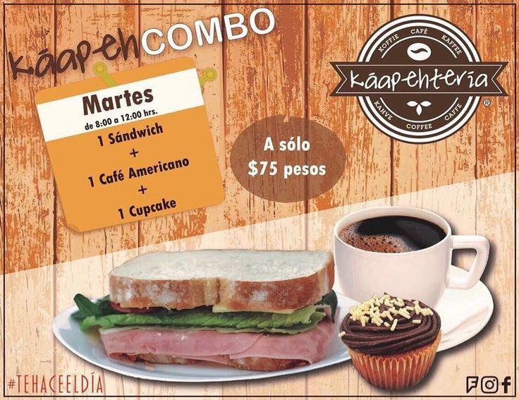 Este increíble martes no te puedes perder nuestro #KáapehCOMBO desayuno Esta delicioso! Te esperamos de 8:00 a 14:00 hrs. Para consentirte como te lo mereces!  Servicio a domicilio al (983) 162 1240  #Promociones #KáapehCOMBO #Desayunos #Káapehtear #Káapehtería #TeHaceElDía #ConsumeLocal #Cafetería #Café #Alimentos #Postres #Pasteles #Panes #Cancún #Chetumal #México