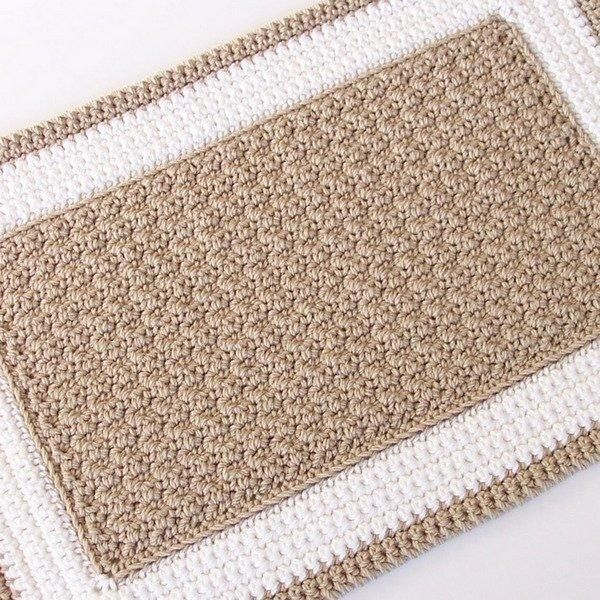Crochet Rectangle Rug - (idk what this one is made out of yet, but you could make a door mat using twine, or thin rope. A regular rug could be from strips of jean or other fabric, kitchen string, or yarn.