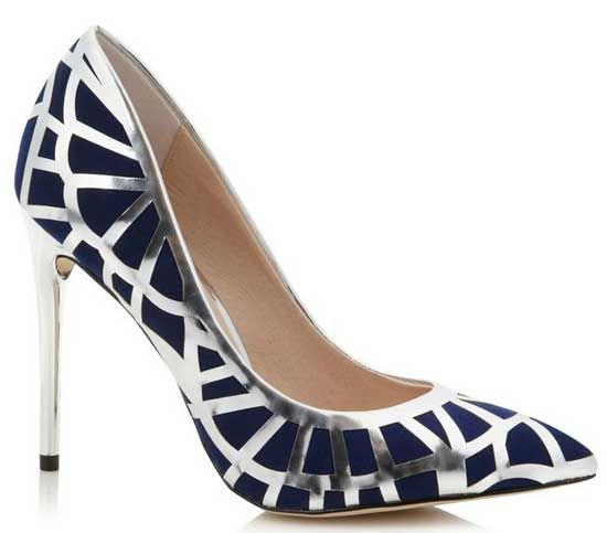 Faith navy and silver court shoes