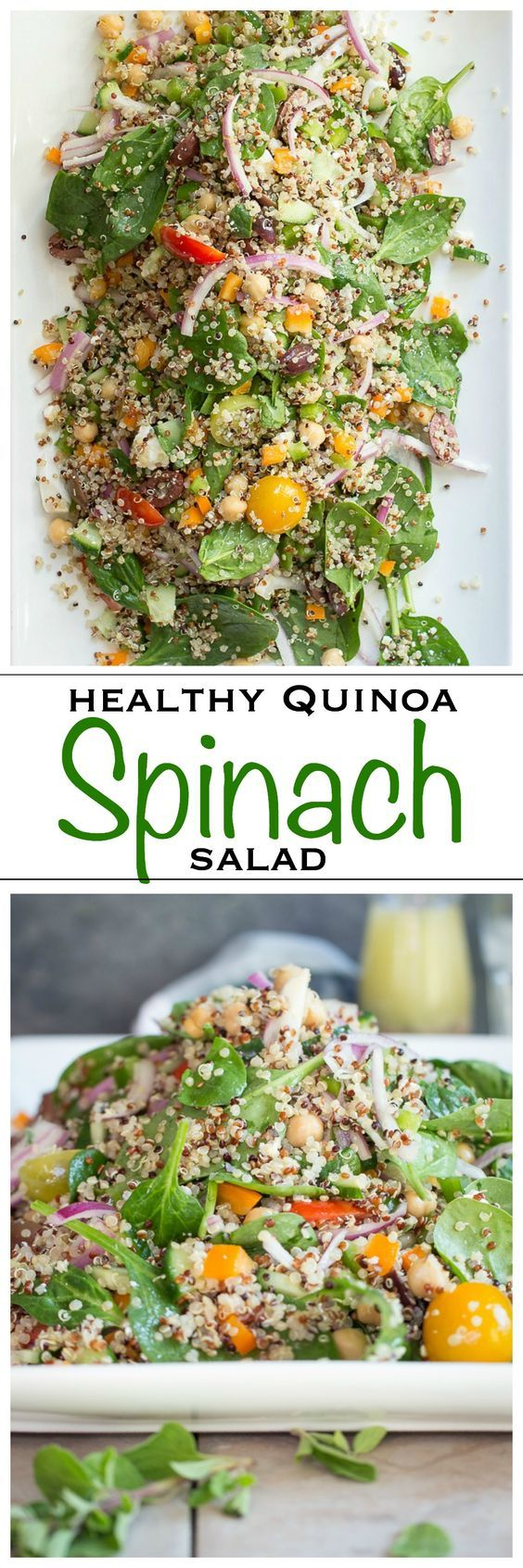 Healthy Quinoa and Spinach Salad tossed in a red wine garlic vinaigrette | Foodness Gracious