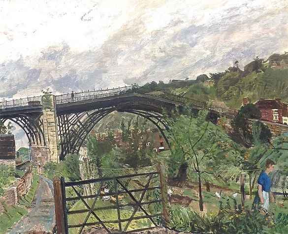 Carel Weight Ironbridge, 1957 signed and dated oil on canvas 19 1/2 x 23 5/8 in 49.5 x 60 cm