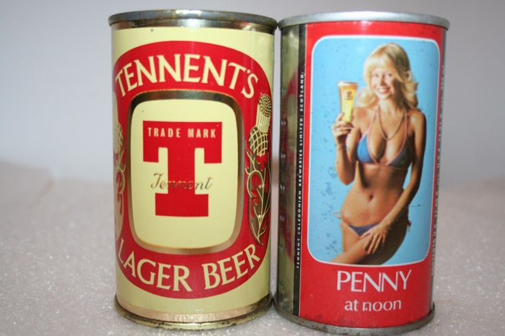 Tennent's Lager Beer 12 oz. flat top & SS pull tab beer can - Tennent Caldonian