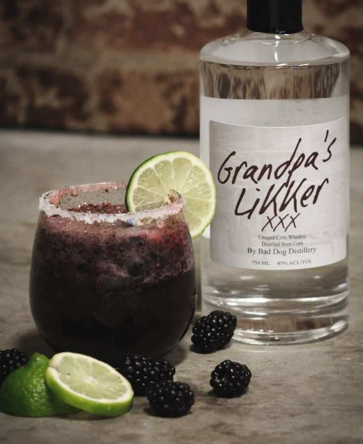 Blackberry Margarita 1 1/2oz Grandpa's Likker 1/2oz Triple sec 1/2oz Cointreau 2 Tbsp. Blackberry simple syrup 1 cup Blackberries - pureed 1 cup sugar ( 1/4 cup for berries puree and rest for the syrup ) 1 cup Sweet and Sour mix Simple syrup Margarita Salt Ice In a blender add 1/4 cup of fresh blackberries, and 1/4 cup of sugar puree until its all blended - set to the side In a small pot make the blackberry simple syrup: Add 3/4 cup of blackb