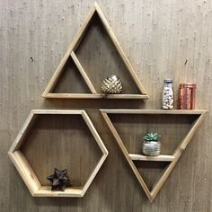RAW Restorations triangle and hexagon shelves.  Wall decor