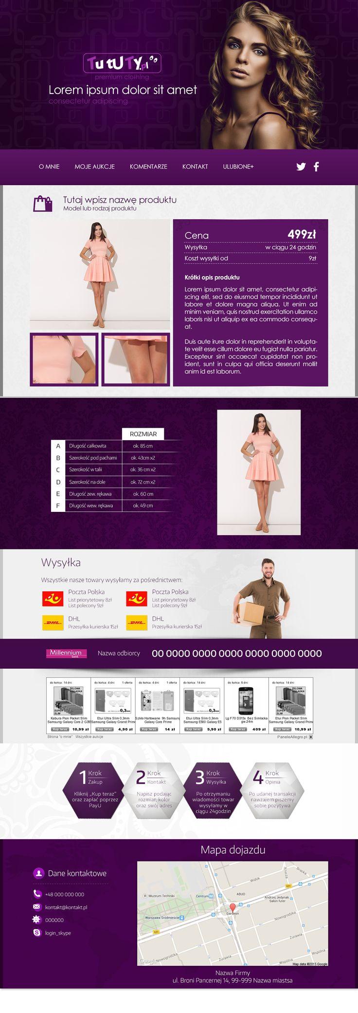 Szablon na zlecenie firmy TutuTy.pl. #szablonallegro #odziezdamska #sukienki #allegro #allegrodesign