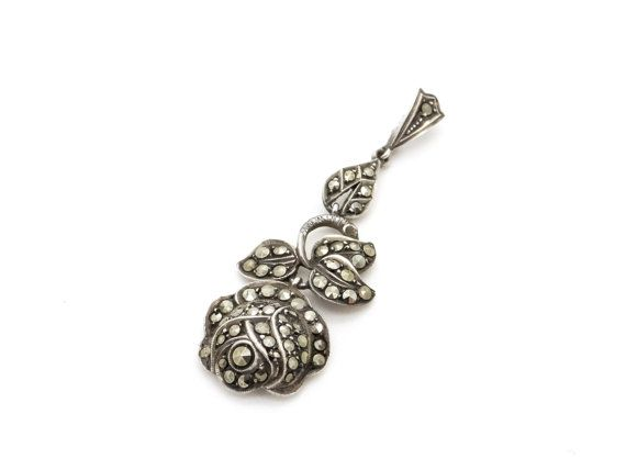 Art Deco Sterling Silver Rose Pendant - 935 Silver - Marcasite Jewelry - Antique / Vintage Jewellery - Big Rose Flower Necklace Pendant at VintageArtAndCraft