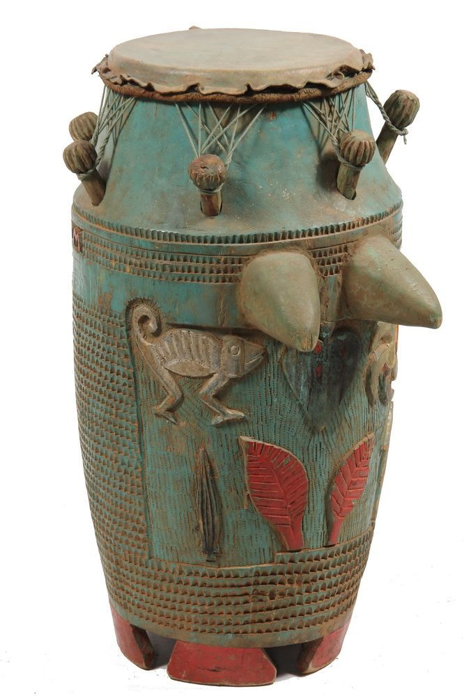"""Ashanti Mama Drum, in painted wood, with hide top stretched to knobs, deeply carved and brightly painted with red and silver symbols and lettering that reads 'Dodosuo Dan-Suom, Twene Noi', circa 1930, Ghana, 25"""" tall, 12"""" diam,"""