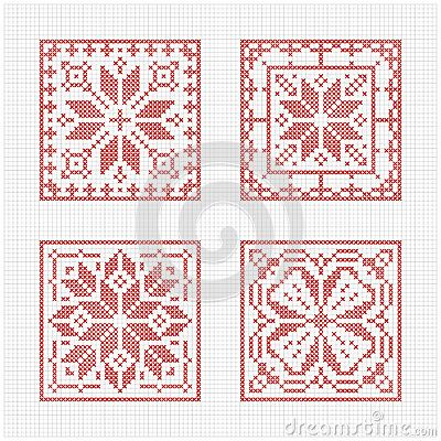Set of tiles, Scandinavian cross stitch pattern. Traditional biscornu design - geometric redwork ornament for embroidery.  Perfect for Christmas design. Cross-stitch border, frame. Vector illustration.   Design by Slanapotam.