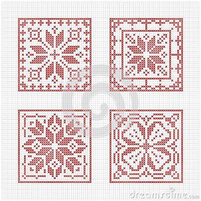 Set of tiles, Scandinavian cross stitch pattern. Traditional biscornu design - geometric redwork ornament for embroidery.  Perfect for Christmas design. Cross-stitch border, frame. Vector illustration.   Design by Slanapotam.