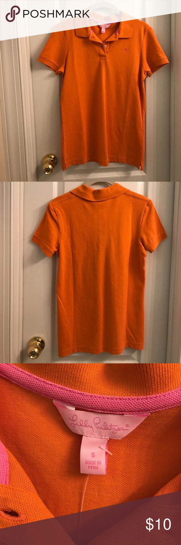 Lilly Pulitzer Shrunken Pique Polo NEW WITH TAGS - Lilly Pulitzer women's polo top. Salamander orange. From non-smoking, non-pet home. Please let me know if you have questions. Lilly Pulitzer Tops Tees - Short Sleeve
