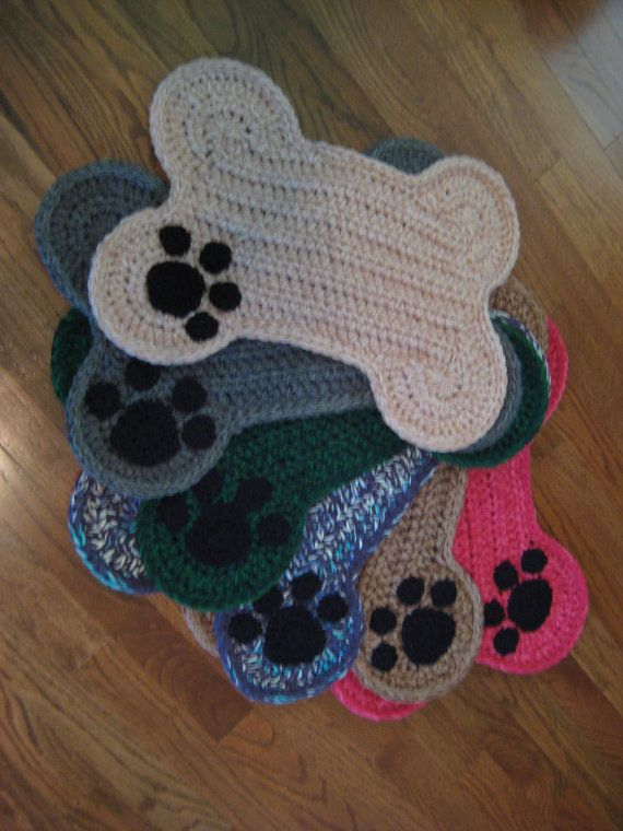 Dog Bone Place Mat Paw Print Crochet Dog Food Bowls Placemat Dog Pet Crate Mat Personalize Ravelry
