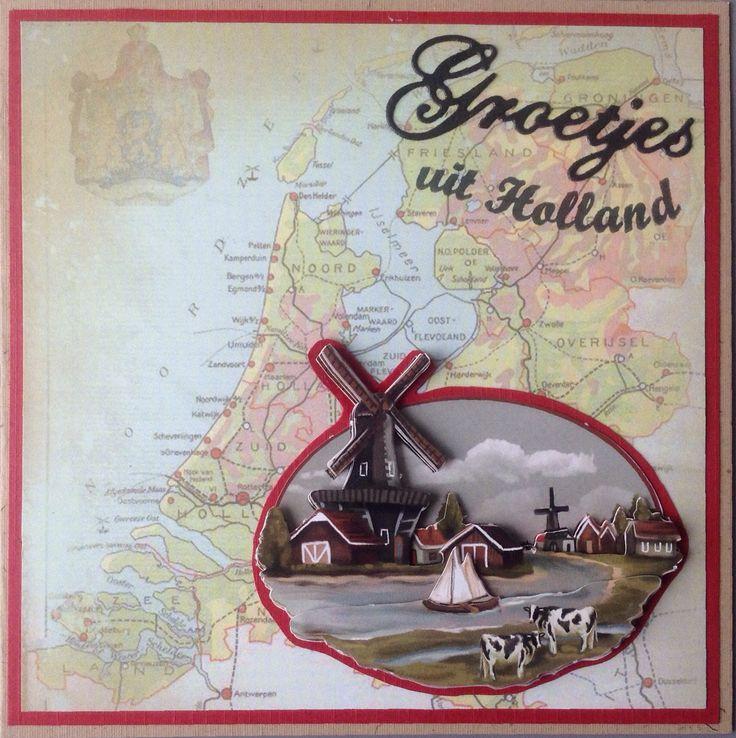 Mooi achtergrond papier met oude kaart van Nederland en plaatje van Amy Design Oud Hollands