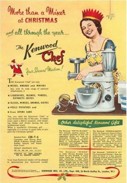 Kenwood Chef, Mixers, Processors, Kitchens Gadgets Christmas Presents, UK (1930), #christmas #retro #ads