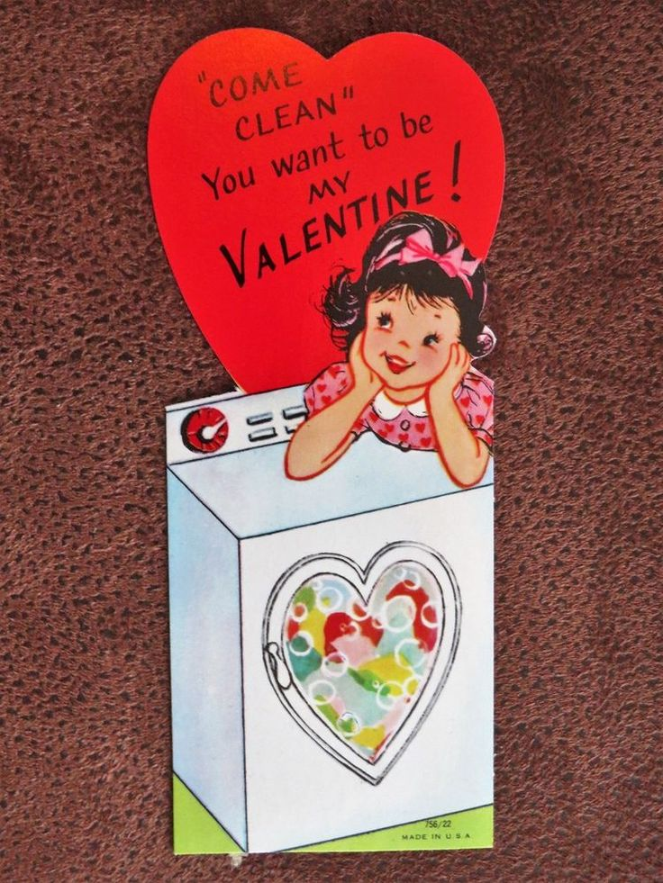 Vintage Valentine Card Pretty Girl Pink Heart Dress Doing Laundry Hearts n Dryer